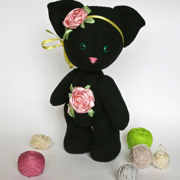 Art Toy Flower  Black Cat. Collectible Handmade One Of A Kind Doll
