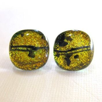 Cat Eyes Dichroic Glass Earrings Dichroic by mysassyglass on Etsy