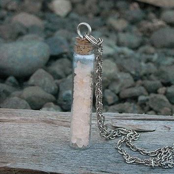 Bottle Necklace Vial Necklace Quartz Necklace by InkandRoses13