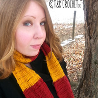Crochet Harry Potter Scarf, Gryffindor Slytherin Hufflepuff Ravenclaw Scarf