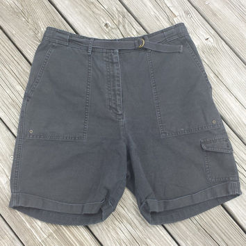 Vtg ULTRA HIGH Waist Shorts by Ralph Lauren - Vintage Black Bermuda Shorts - SZ 6 / 8