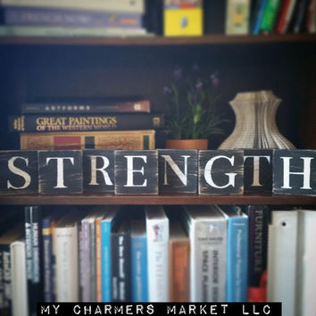 Strength Sign, Strength Tile Letters, Strength Wall Decor, Wooden Letter Blocks, Wood Letter Tiles, Shabby Chic Strength Sign Set, Gift Idea