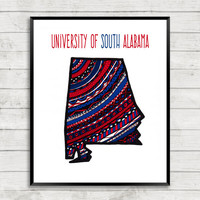 University of South Alabama Team Print, Jags Art Print, South Alabama Art, Go Jags, South Alabama