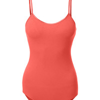 LE3NO Womens Lightweight Sleeveless Shapewear Bodysuit with Adjustable Straps