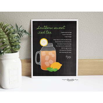 Kitchen Chalkboard Southern Sweet Tea Mason Jar Recipe art print