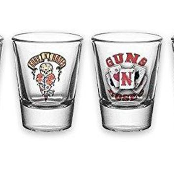 "Guns 'N' Roses 4pc Shot Glass Set ""Different Themes"""