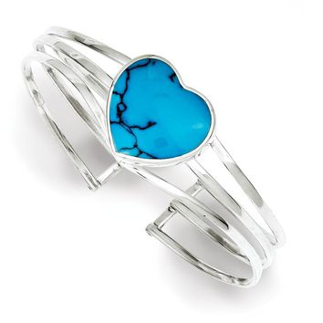 Sterling Silver 18mm Simulated Turquoise Heart Cuff Bangle Bracelet