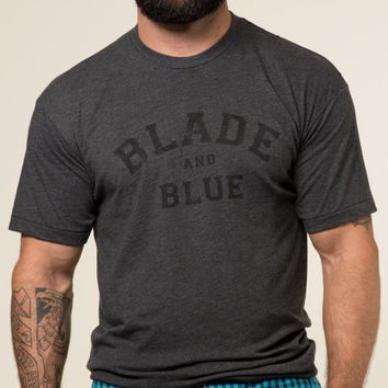 Grey & Black Blade + Blue Tee