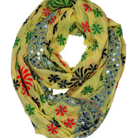 Hand Embroidered Chiffon Phulkari Infinity Scarf with Sequins - Free shipping in US