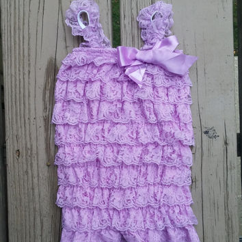 Lilac Purple Romper - Free Shipping - Ready to Ship - Baby Girl - Lace Petti Romper - Frozen - Birthday - Photo Prop