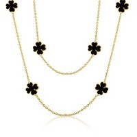 Bling Jewelry Dark Clover Necklace