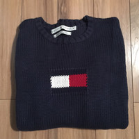 Tommy Hilfiger Womens Sweater 100% Cotton Navy Red White Medium 80'