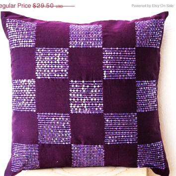 Valentine SALE Radiant orchid throw pillows bead sequin detail - Geometric pillow - Cotton Silk pillow - Cushion cover -16x16 -Purple pillow