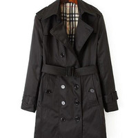 Notched Collar Double Buttoned with Waist Belt Trench Coat