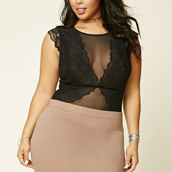 Plus Size Lace Mesh Bodysuit