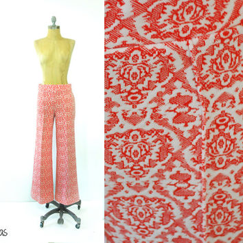 Vintage 1970s Damask Bell Bottoms • Red + White Pants • Vintage 70s Pleated Pants • Vintage Bohemian Bottoms • Small Womens Pants
