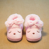 Children'S Winter Home Shoes For Baby Girls Cotton Slippers Indoor Shoes Casual Warming Slipper Kids Baby Non-Slip Shoes