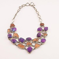 Copper and Purple Turquoise Sterling Silver Necklace