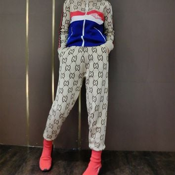 """Gucci"" Women Casual Fashion Embroidery Stripe Long Sleeve Zip Cardigan Trousers Set Two-Piece Sportswear"