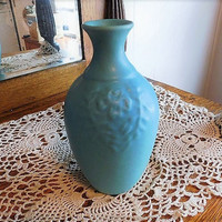 Large 1940s Van Briggle Art Pottery Vase / Ming Turquoise Blue Squeeze Bag Vase / Colo Spgs Van Briggle / Mid Century MOD Home Decor