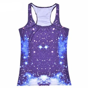 Blue Celestial Space Stars Galaxy Cosmic All Over Print Women's Tank Top