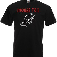 Mouse Rat, Mens Printed T-Shirt - Black/White/Red L
