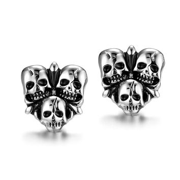 Stainless Steel Three Skeleton Skull Head Biker Men Stud Earrings Punk Ear Piercing Fashion Statement Fine Jewelry Brincos
