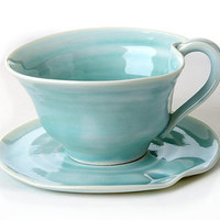 Hand Thrown Tea Cup And Saucer