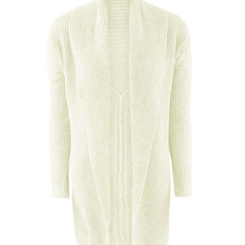 Beige Shawl Collar Jacquard Knitted Cardigan