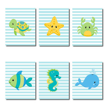 Boy Nursery Decor, Sea Animlas WALL ART, Boy Bathroom Decor, Fish Starfish Seahorse Turtle Whale Crab Set of 6 Prints Or Canvas Bathroom