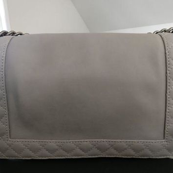 ONETOW Auth Chanel Medium Boy Reverso Gray/Grey Calfskin Flap Bag w/ Ruthenium HW EUC