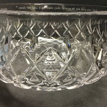 Engraved saying from the bible glass bowl