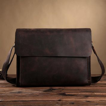 Genuine Leather Messenger Bag Men Casual Men Vintage Business Crossbody Bag Men's Travel Bags Laptop Briefcase Bag For Man