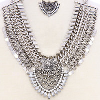 Bijou Jewel Statement Necklace and Earrings Set Antique Silver