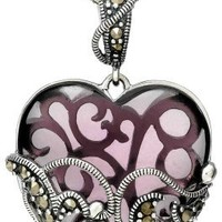 """Sterling Silver Marcasite and Amethyst Colored Glass Heart Pendant Necklace, 18"""" - save winkie Shop"""