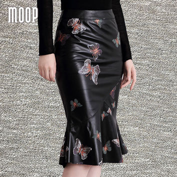 Designer black with butterfly print genuine leather skirts women mermaid skirt