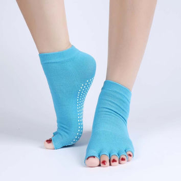 1Pair Half Toe Yoga Socks Non-Slip Peep Toe Anti-Slip Pilates Ankle Grip Durable Open Half Five Fingers Cotton Yoga Socks