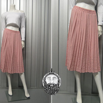 Vintage 90s Pastel Pink Pleated Midi Skirt Grunge Pastel Goth High Waisted Box Pleat Powder Pink Hipster Skirt Long Skirt Over the Knee