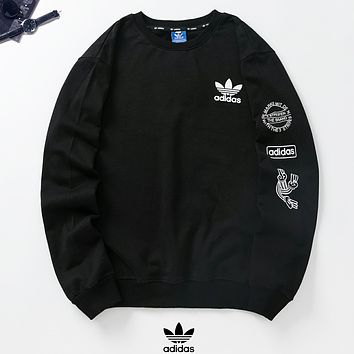Adidas New fashion letter print couple long sleeve top sweater Black