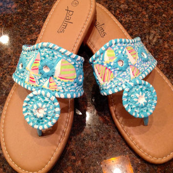 Hand painted sandals inspired by the look of Jack Rogers snd painted in a Lilly Pulitzer like design.