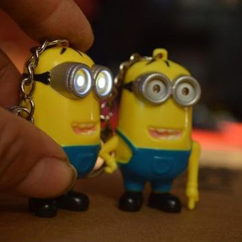 Hot selling Despicable me 3 LED Keychain talk minions press button say I love you gift for lover 30pcs/lot