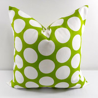 SALE Green Pillow. Chartreuse Pillow cover. Polka Dot. Green Dandie  Cotton. Sham Pillow case.Select your size.