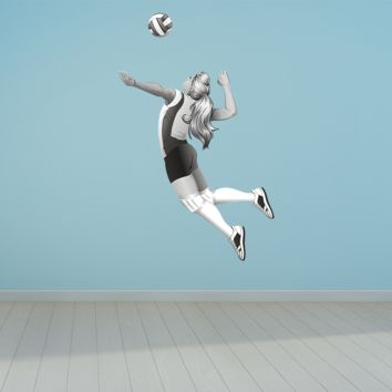 Volleyball Player Hit Wall Decals Removable Repositionable Fathead style