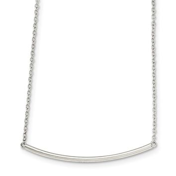 Hollow Bar Necklace in Sterling Silver - Spring Ring Cable Chain