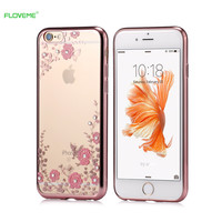 FLOVEME Luxury Rhinestone Soft TPU Case For iPhone 7 6 6s Plus 5 5s SE Samsung Galaxy S6 S7 Edge Flowers Diamond Slim Back Cover