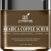 Art Naturals Organic Arabica Coffee Scrub 8.8 oz - The Most Powerful Remedy for Varicose Veins, Cellulite, Stretch Marks, Eczema & Acne - Deep Skin Exfoliator That Promotes Cell Repair & Rejuvenation