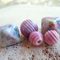 Lampwork Beads, Ribbed Glass Beads, Artisan Handmade Lampwork Jewelry Supplies, Autumn Berries