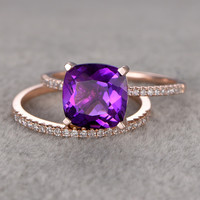8X8mm Cushion Amethyst Wedding Set Diamond Bridal Ring 14k Rose Gold Unique Prong Pave Thin Matching Band