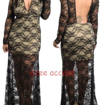 Plus Size Sheer Mesh Lace Open Backless Gown Long MaXi Prom Dress Black Beige