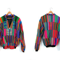 Vintage 80s Guatemalan Jacket Colorful Patchwork Tribal Puffer Jacket Ethnic Ikat Zip Up Coat Hippie Rastafarian Drug Rug Boho Coat Medium